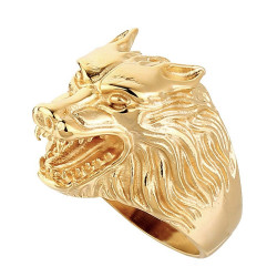 BA0209 BOBIJOO Jewelry Ring Signet Head Wolf Steel Gilded Gold End Man