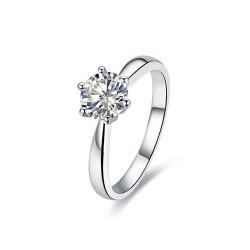 SOL0001 BOBIJOO Jewelry Anillo Solitario de Plata óxido de Circonio de 7 mm 6 garras