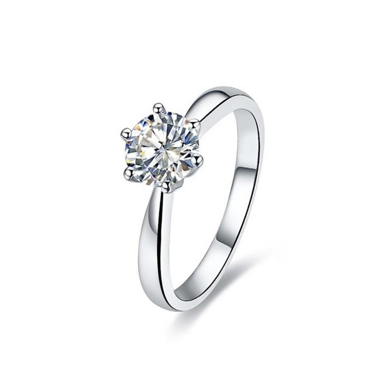 SOL0001 BOBIJOO Jewelry Solitaire ring Silber-Zirkonium-7mm 6 krallen