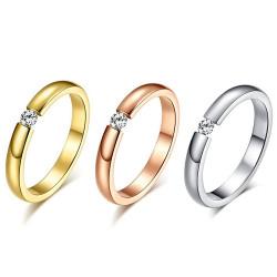 SOL0002 BOBIJOO Jewelry Solitaire Alliance Bague Acier Argenté Doré Rose