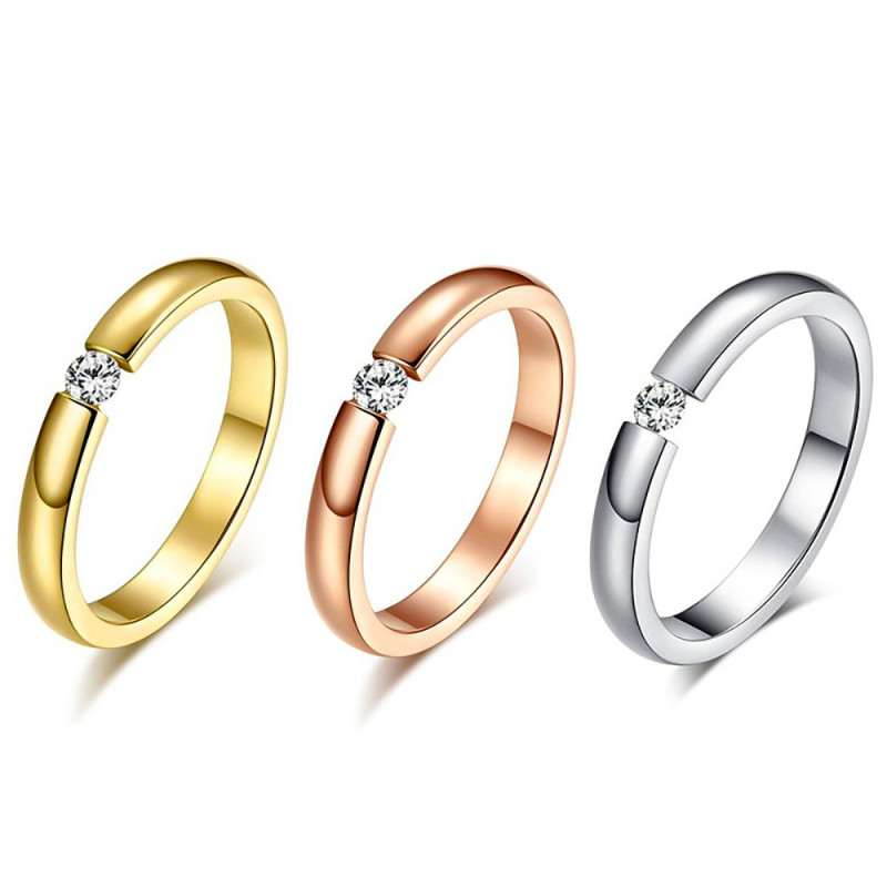 SOL0002 BOBIJOO Jewelry Solitaire-Alliance-Ring Stahl Silber Rose Gold