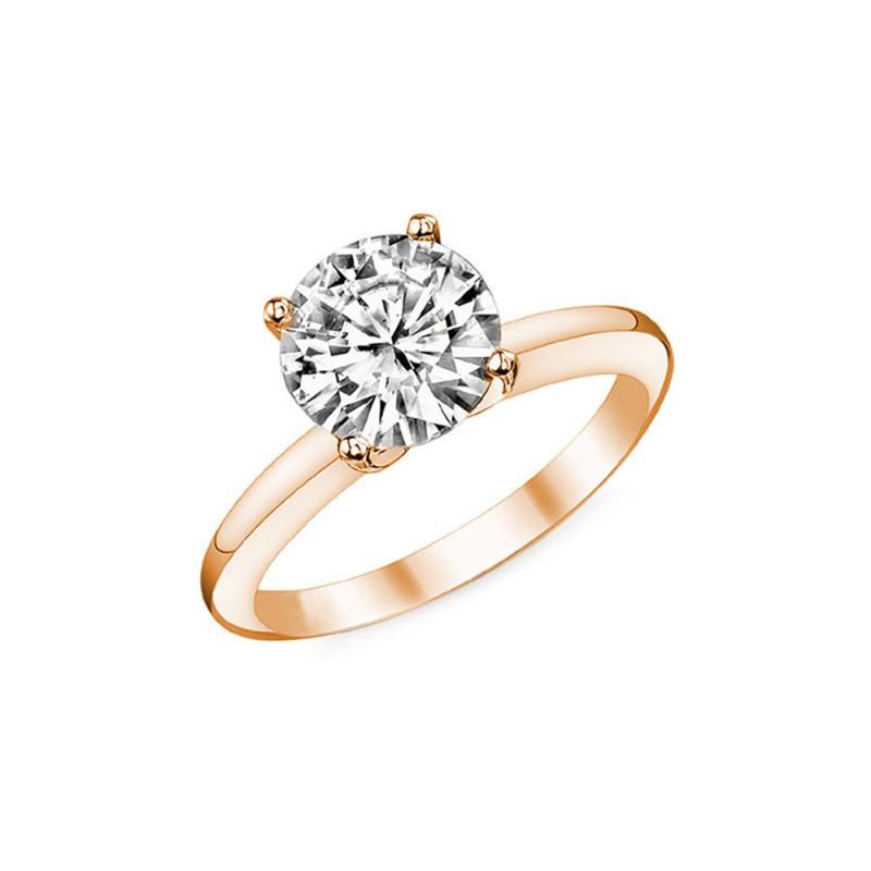 SOL0005 BOBIJOO Jewelry Anello Solitario in Oro Rosa Zirconia 7mm 4 artigli