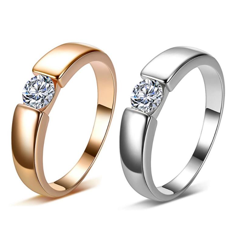 SOL0007 BOBIJOO Jewelry Solitario Alianza Anillo Anillo de Zirconia 5mm