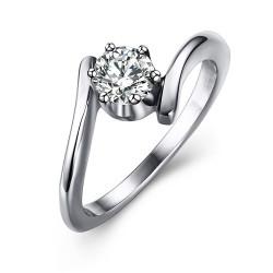SOL0008 BOBIJOO Jewelry Solitario Anillo De Acero Inoxidable De Zirconia Plata De Diseño