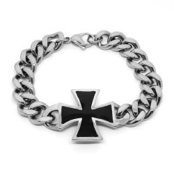 BR0237 BOBIJOO Jewelry Bracelet Curb Man Black Templar Silver Steel