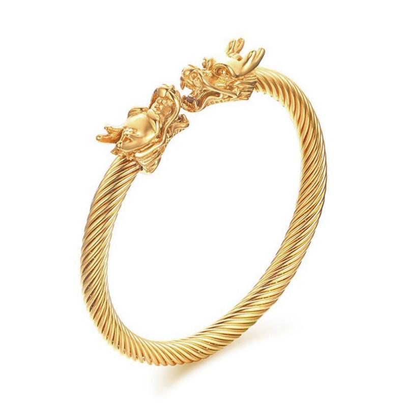 BR0229 BOBIJOO Jewelry Bracelet Jonc Câble Homme Dragon Acier Doré Or Fin