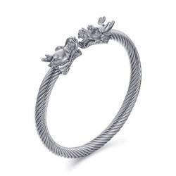 BR0230 BOBIJOO Jewelry Bracciale Bangle Cavo Maschio Drago D'Acciaio, Argento