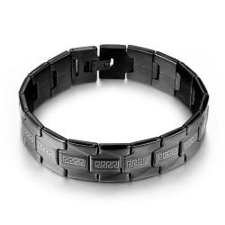 BR0234 BOBIJOO Jewelry Maglia del bracciale Uomo Acciaio Larga Nero Opaco 16mm