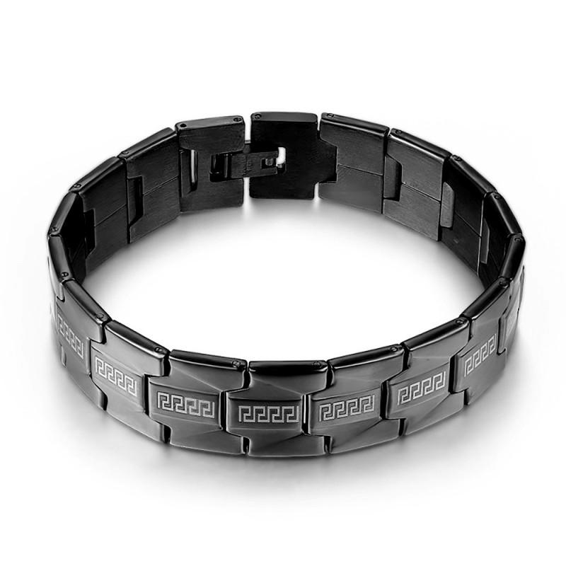 BR0234 BOBIJOO Jewelry Bracelet Maillon Homme Acier Large Noir Mat 16mm