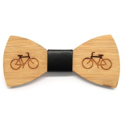 NP0025 BOBIJOO Jewelry Bow tie wood bamboo bike bicycle Green