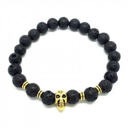 BR0048 BOBIJOO Jewelry Pulsera hecha de Piedra de Lava del cráneo de la Cabeza de Color: de Oro Rosa de Cobre