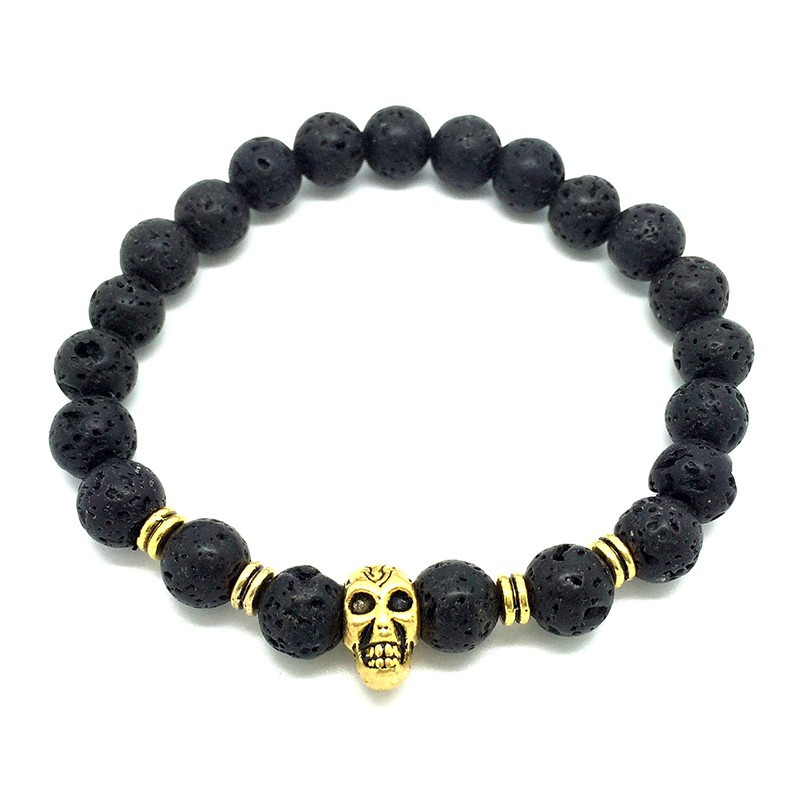 BR0048 BOBIJOO Jewelry Bracelet made of Lava Stone skull Head Color: Gold Rose Copper