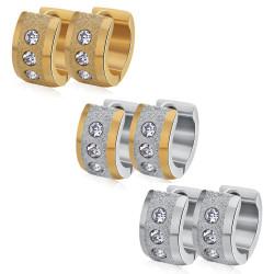 BOF0085 BOBIJOO JEWELRY Lote de 3 Pares de aretes de diamantes de imitación de Acero Inoxidable