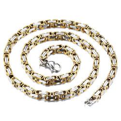 COH0009 BOBIJOO Jewelry Collier Chaîne Gourmette Mailles Byzantines Bicolore Acier