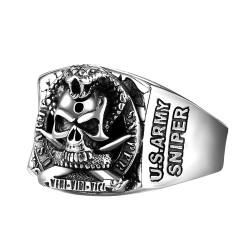 BA0211 BOBIJOO Jewelry Bague Chevalière Tête de Mort US ARMY SNIPER Acier
