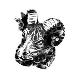 BA0213 BOBIJOO Jewelry Ring, Siegelring, Kopf Widder Mann aus Stahl Mann