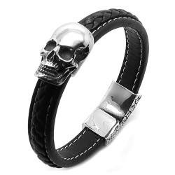 BR0241 BOBIJOO Jewelry Pulsera de Cuero Trenzado de Acero Inoxidable de Cabeza de la Muerte del Cráneo del Motorista