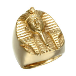BA0215 BOBIJOO Jewelry Signet Ring Pharaoh-Egypt Ring Golden Man Golden