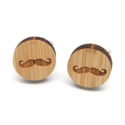 BM0033 BOBIJOO Jewelry Cufflinks Wood Mustache