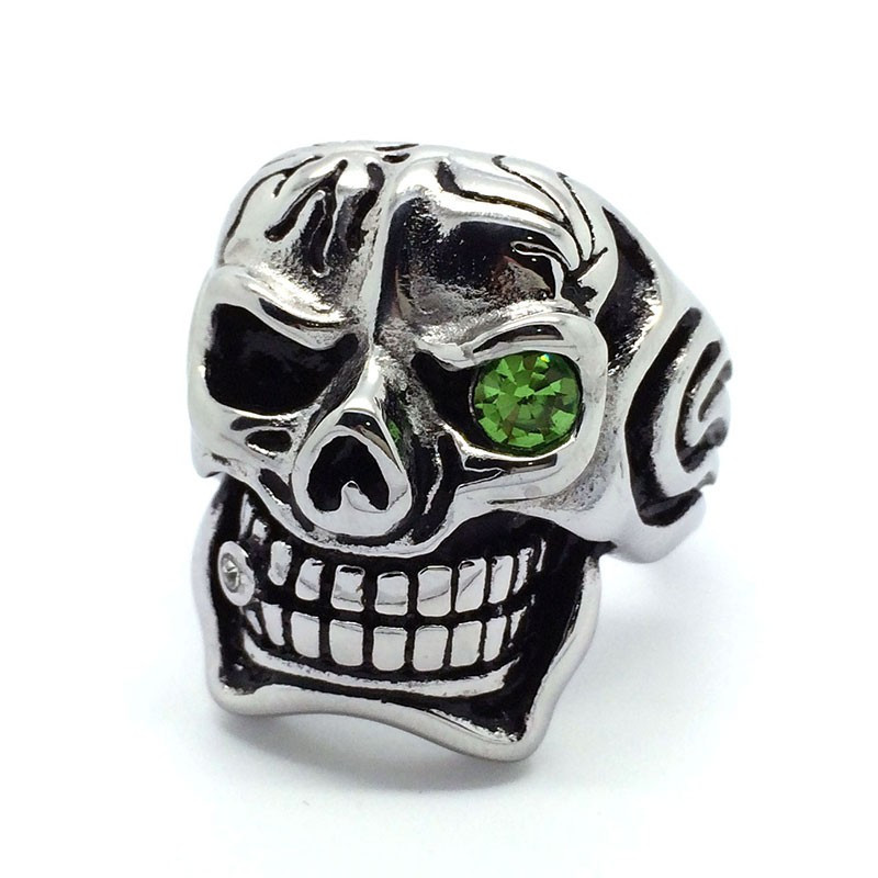 BA0008 BOBIJOO Jewelry Ring Head Death Biker Punk Gothic Man Silver Zirconium Cigar Eye Green Ring