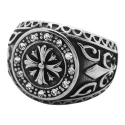 BA0073 BOBIJOO Jewelry Anello Sigillo Templare Croce Fleur-de-Lys