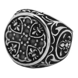 BA0075 BOBIJOO Jewelry Bague Chevalière Templier Croix pattée Lys Strass
