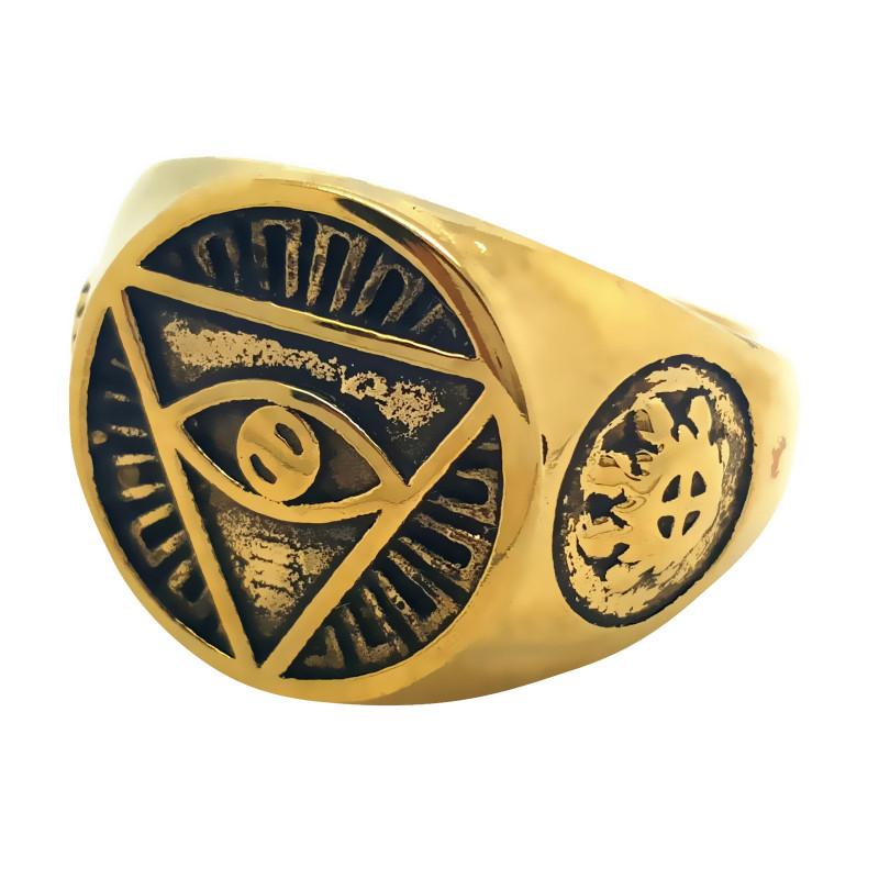 BA0081 BOBIJOO Jewelry Bague Chevalière Illuminati Pyramide Oeil Doré