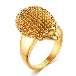 BA0201 BOBIJOO Jewelry Signet Ring Hedgehog Niglo Steel Gilded Gold Finish