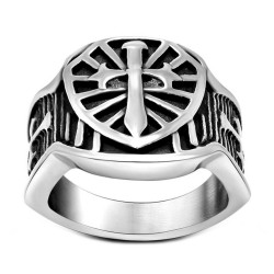 BA0128 BOBIJOO Jewelry Signet Ring Knight Sword Steel Templar Cross