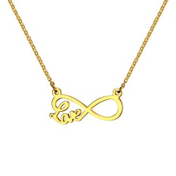 PEF0036 BOBIJOO Jewelry Necklace Pendant Infinite Love Necklace Steel Gilded Gold Finish