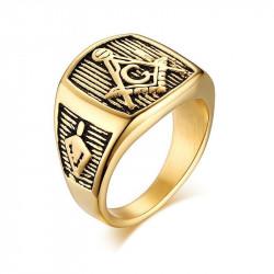 BA0012 BOBIJOO Jewelry Chevalière Bague Acier Doré à l'Or Fin Franc-Maçon Maçonnerie Masonic Cadeau