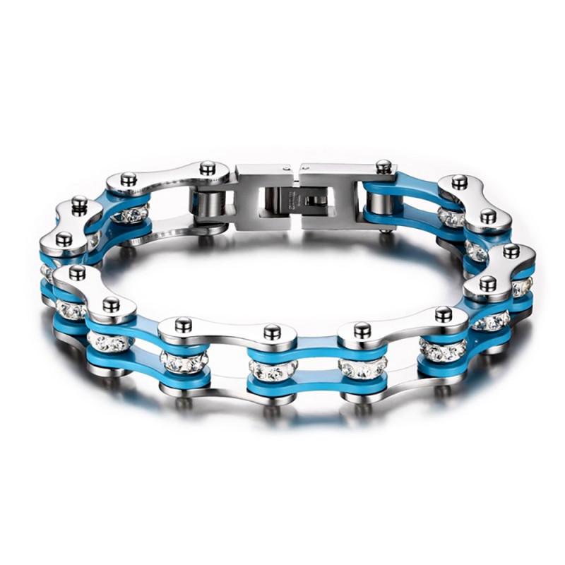 BR0145 BOBIJOO Jewelry Bracelet Chaine de Moto Acier Bleu Blanc
