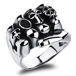 BA0217 BOBIJOO Jewelry Ring Siegelring Biker-Stahl-Faust-Klee-Lilie Skull Stahl