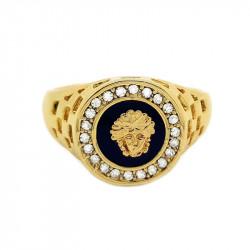 Chevalière Bague Doré à l'Or Fin Style Medusa Cristal Ring Gold Black Noir Mixte