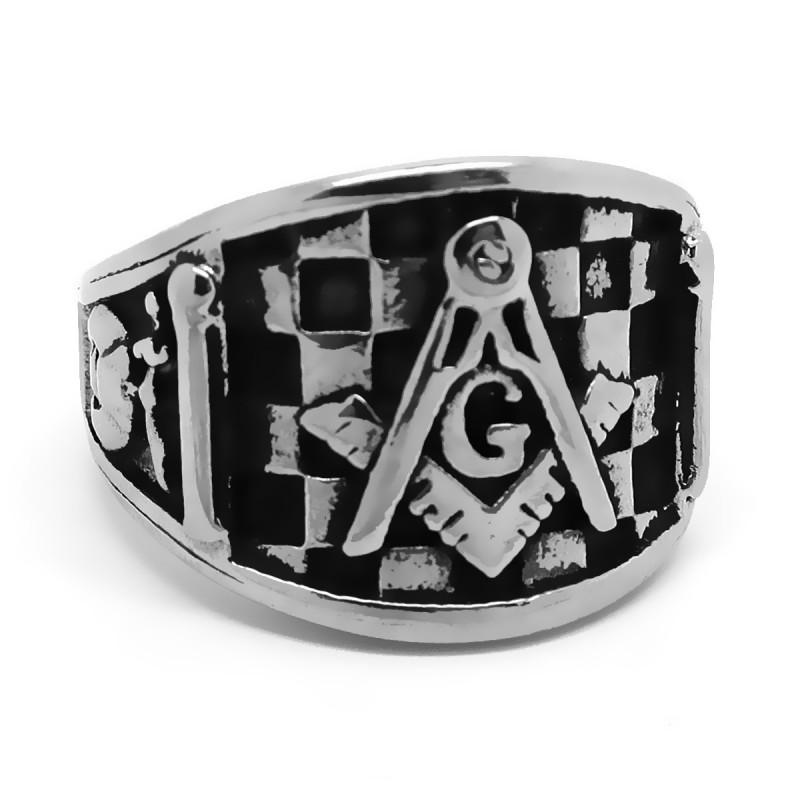 BA0218 BOBIJOO Jewelry Bague Chevalière Franc-Maçonnerie Pavé Mosaique Acier
