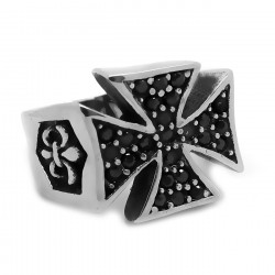 BA0221 BOBIJOO Jewelry Anello con sigillo della Croce Pattee Strass Nero Fleur-de-Lys