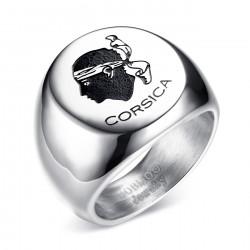 BA0225 BOBIJOO Jewelry Ring Siegelring Korsika mohrenkopf Corsica Stahl Silber