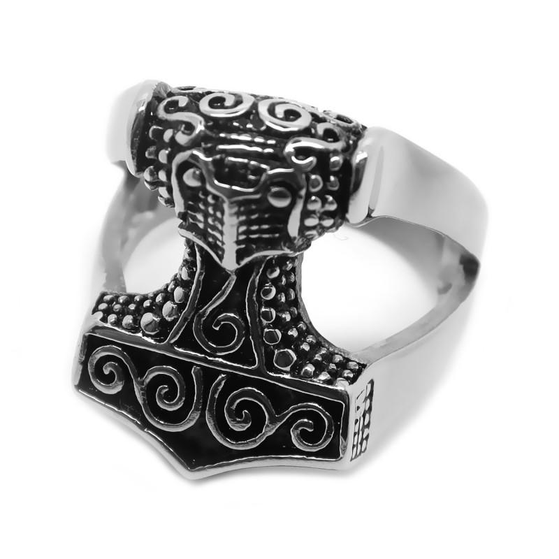 BA0161 BOBIJOO Jewelry Bague Chevalière Homme Mjöllnir Marteau de Thor Viking