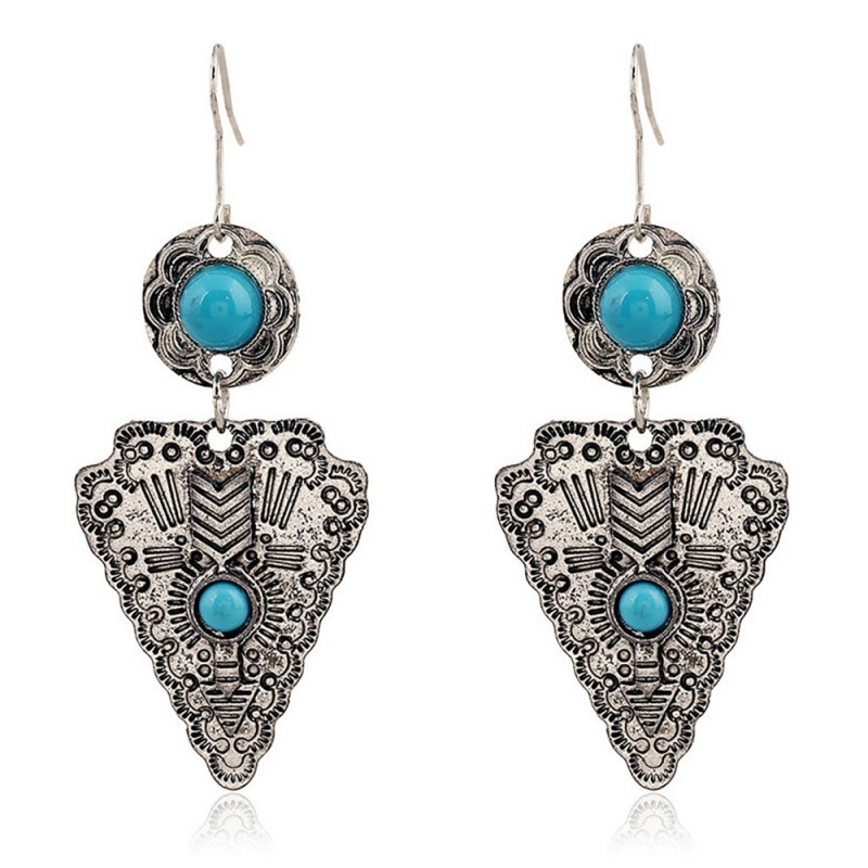 BOF0028 BOBIJOO JEWELRY Pair of earrings Silver Turquoise