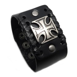 BR0242 BOBIJOO Jewelry Bracelet Man With Black Leather Knight Templar Cross