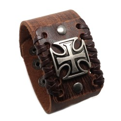 BR0213 BOBIJOO Jewelry Bracelet Man Brown Leather Knight Templar Cross