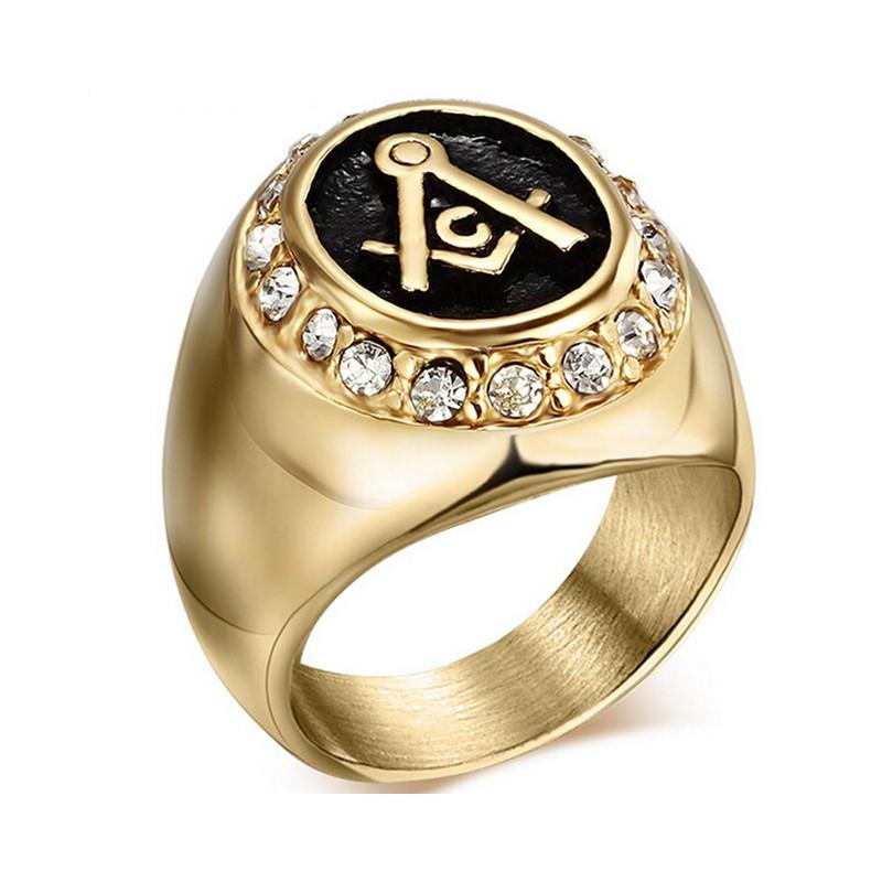 BA0009 BOBIJOO Jewelry Anello Uomo anello in Acciaio 316L placcato Oro finitura Strass Franco Mason Muratura Anello Massonico