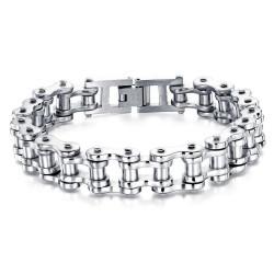 BR0246 BOBIJOO Jewelry Bracciale Catena Bici In Acciaio Cromato Classico