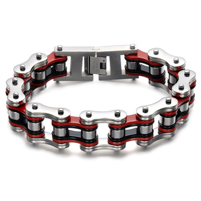 BR0227 BOBIJOO Jewelry Large Bracelet Chaîne de Moto Homme Acier Rouge Noir
