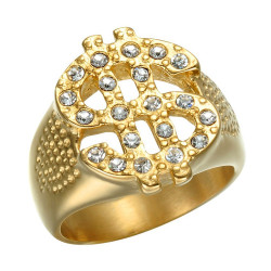 BA0227 BOBIJOO Jewelry Ring Signet Dollar Sign $ Gold Rhinestone Bling
