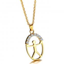 PEF0038 BOBIJOO Jewelry Pendentif INDALO Chance Acier Zirconium Finition Or + Chaîne