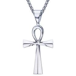 PE0085 BOBIJOO Jewelry Colgante de la Cruz de la Vida Egipcia de Acero, de Plata 64mm