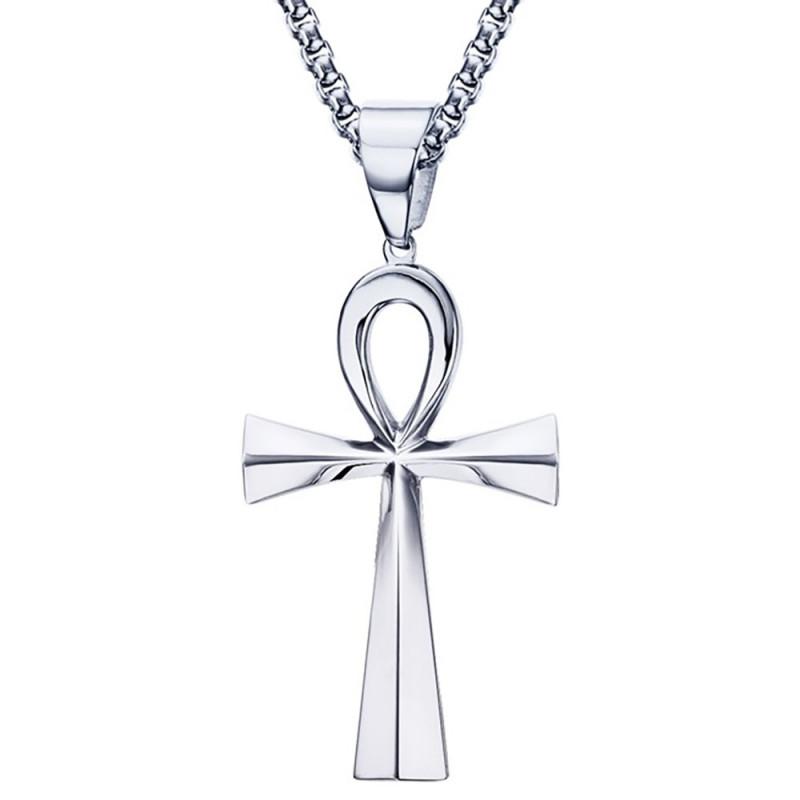 PE0085 BOBIJOO Jewelry Pendentif Croix de Vie Egyptienne Acier Argenté 64mm