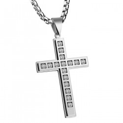 PE0090 BOBIJOO Jewelry Pendant Latin Cross Stainless Steel Zirconium 58mm