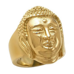 Bague Bouddha Paix Acier Or Chevalière bobijoo